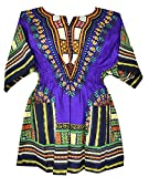 Decoraapparel Womens Dashiki Dress Cotton Shirt Elastic Waist Traditional wear Bright Colors