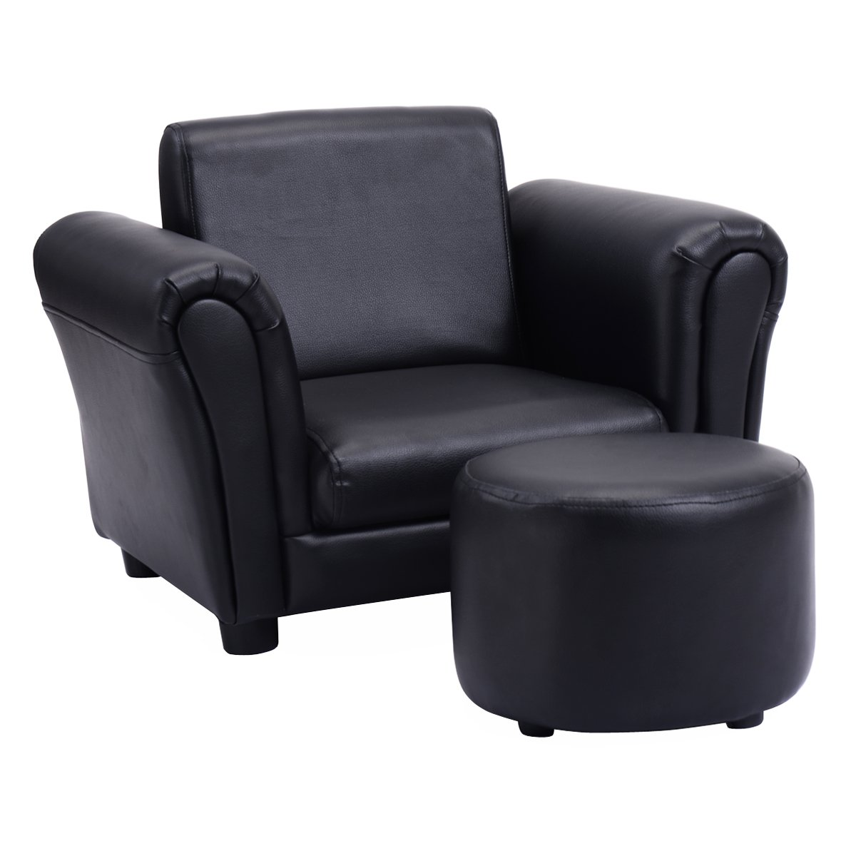 Costzon Kids Sofa, PU Leather Upholstered Armrest, Sturdy Wood Construction, Toddler Chair (Black Sofa with Footstool)