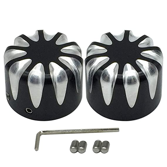 Front Axle Nut Cover Axle Caps Set Chrome for Harley Dyna Softail Electra Road Glide Sportster Fat Boy Forty Eight Heritage Softail Road Kings Street Glides Iron 883