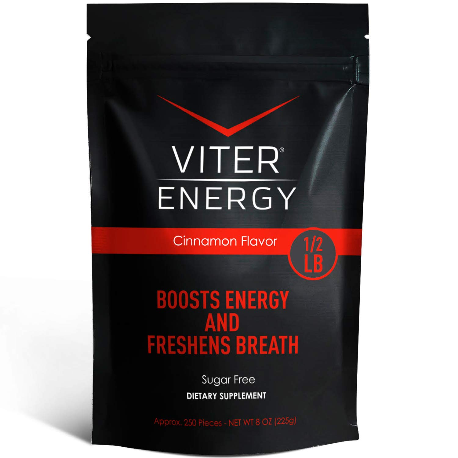 Viter Energy Caffeinated Mints - 40mg Caffeine & B-Vitamins Per Powerful Sugar Free Mint. Boost Energy, Focus & Fresh Breath. 2 Pieces Replace 1 Coffee (Cinnamon, 1/2 LB Bulk (Mints Only))