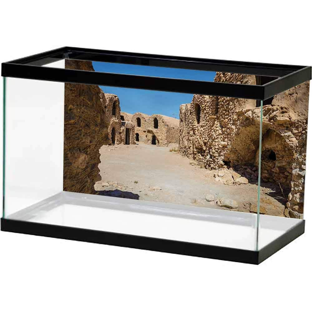 bybyhome Rock Background Aquarium Galaxy,One of Abandoned Sets of The Movie in The Desert Phantom Menace Antique Cave Houses,Brown Blue Adhesive Underwater by bybyhome