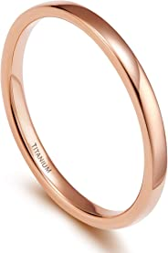 TIGRADE 2mm 4mm 6mm 8mm Titanium Plain Dome High Polished Wedding Band Ring Comfort Fit