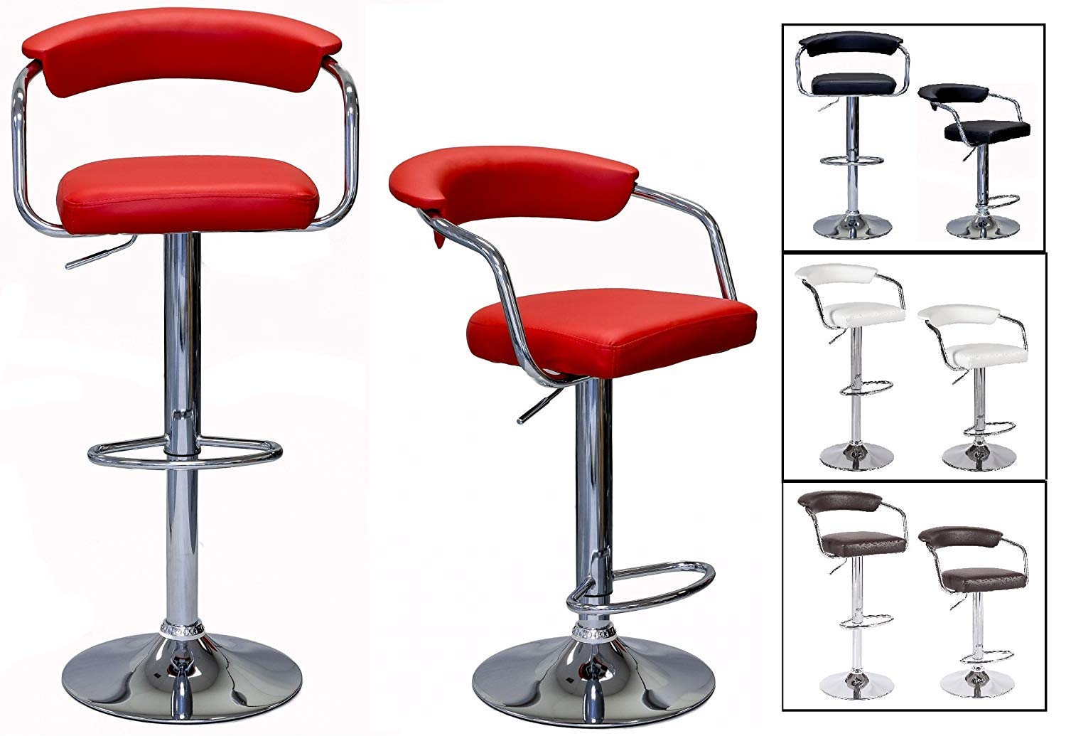 Candy Red Set of 2 Stools SavingBig Series CRESCENT Height Adjustable Leatherette Seat /& Elevated Back Rest 360 Swivel 24 to 33 inch Bar Stool with Chrome Armrest Pole /& Base installed with Floor Protection Hard Plastic
