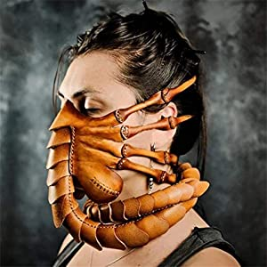 Unique Halloween Cosplay Party Costum ʍask,Unisex Novelty Simulation Alien Facehugger Headgear,Natural Latex Cuttable Mმsk for Masquerade Scary Claws Props, Halloween Decorations for Adult Teens Kids