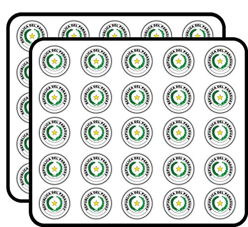 Paraguay Coat of Arms Label Art Decor Sticker for Scrapbooking, Calendars, Arts, Kids DIY Crafts, Album, Bullet Journals 50 Pack