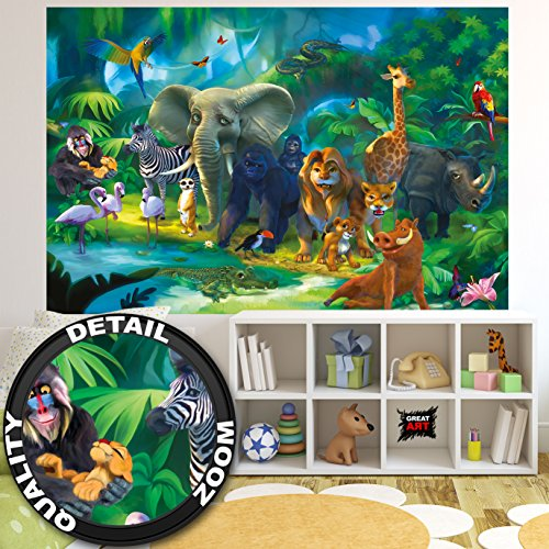 GREAT ART Fototapete Kinderzimmer – Dschungel Tiere – Wandbild Dekoration  Jungle Animales Zoo Natur Safari Adventure Tiger Löwe Elefant AFFE ...