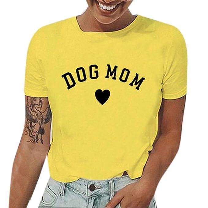URIBAKY ✤✤ Las Mujeres Verano Casual Camiseta Gráfica Letras Impresas Top de Manga Corta Cuello Redondo: Amazon.es: Ropa y accesorios