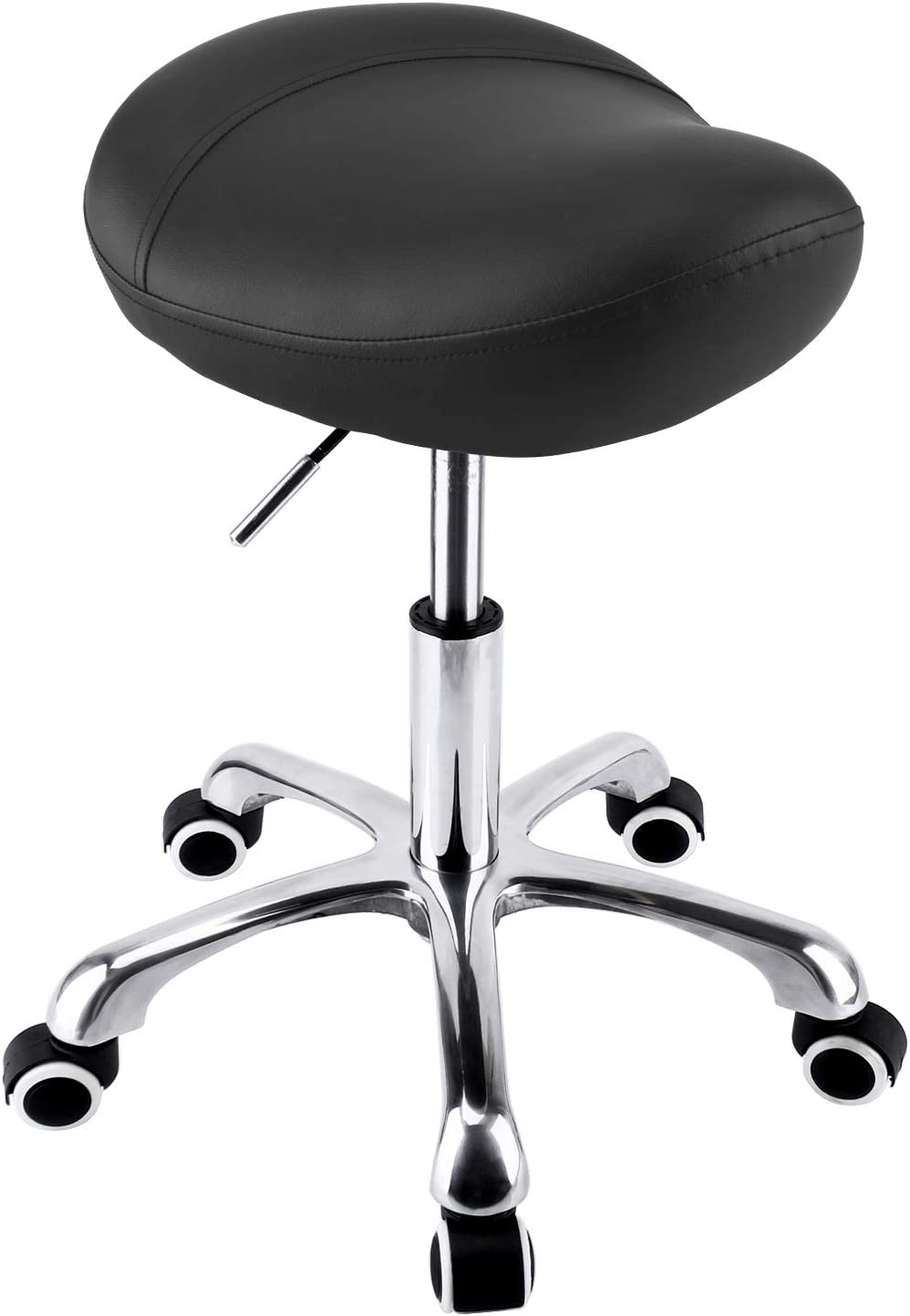 Geboor Hydraulic Saddle Stool with Wheels Rolling Adjustable Height for Clinic Dentist Spa Massage Medical Salons Studio (Black)