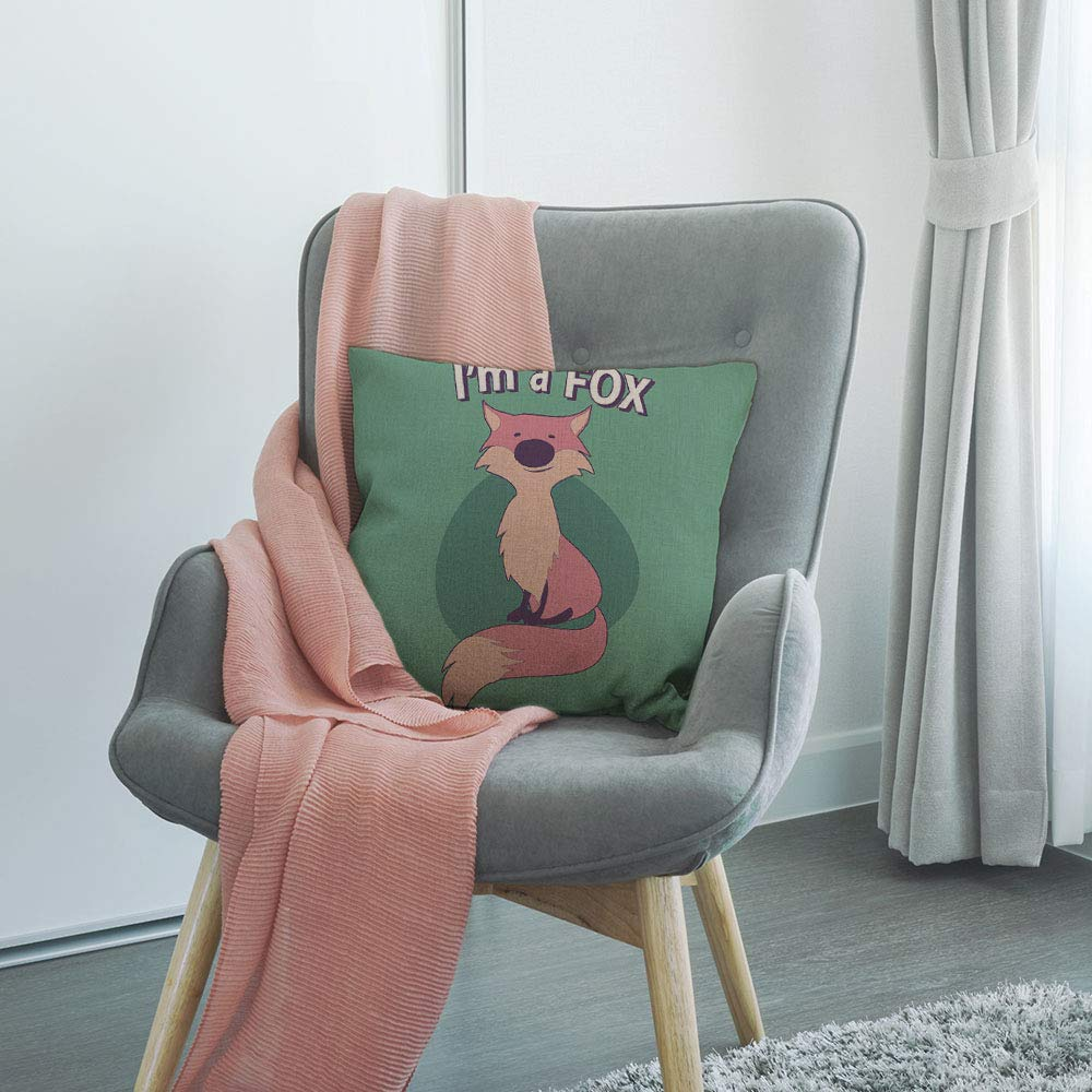 HGOD DESIGNS Fox Throw Pillow,Cute Cartoon Style Fox with Title Above with Quote I Am Fox Decorative Cushion Cover Cotton Linen Square Throw Pillow Cover,18X18