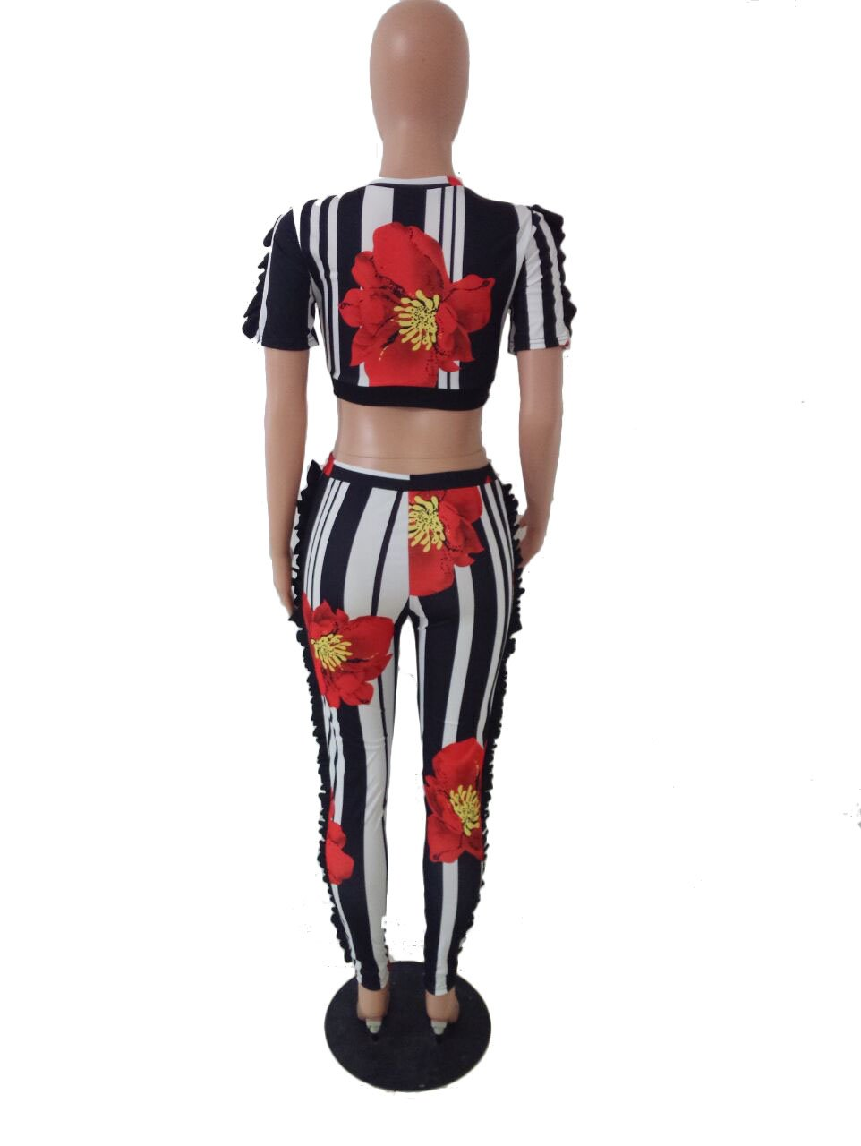 Adogirl Womens Short Sleeve Stripe Print Ruffle Crop Top Skinny Pants 2 Pieces Outfits Jumpsuit Yellow XL by Adogirl (Image #4)
