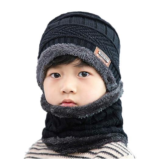 8ec410df2a712 Hellofuture 2-Pieces Winter Beanie Hat Scarf Set Warm Knit Hat Thick Fleece  Lined Winter