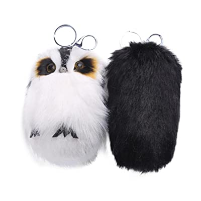 Coohole 15CM Cute Owl Keychain Pendant Key Ring Holder Pompoms Key Chains Toy