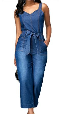how to buy shop best sellers nice shoes Amazon.com: WSPLYSPJY Womens Denim Jumpsuit Overalls Strap V ...