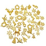 Mada 50pcs/lot Mixed Christmas Charms Alloy Jewellery Pendants Xmas Holiday Party Decor DIY Jewelry Making&Crafting Gold