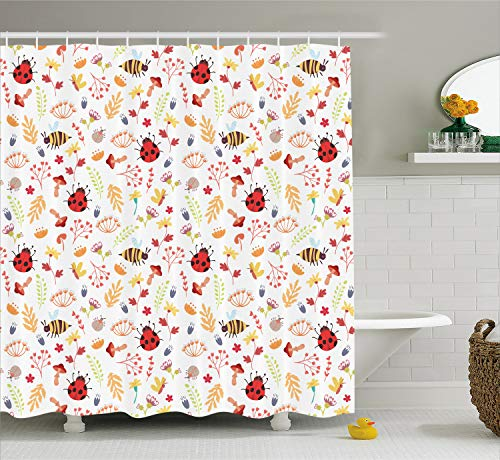 Ambesonne Bee Shower Curtain, Cute Autumn Themed Doodle Pattern with Bugs Plants Herbs Flower Mushroom in The Forest, Cloth Fabric Bathroom Decor Set with Hooks, 70 Inches, White Red