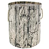 Jacone Large Tree Stump Shape Design Storage Basket Ramie Cotton Fabric Washable Cylindric Laundry Hamper with Rope Handles, Decorative and Convenient for Kids Bedroom or Nursery