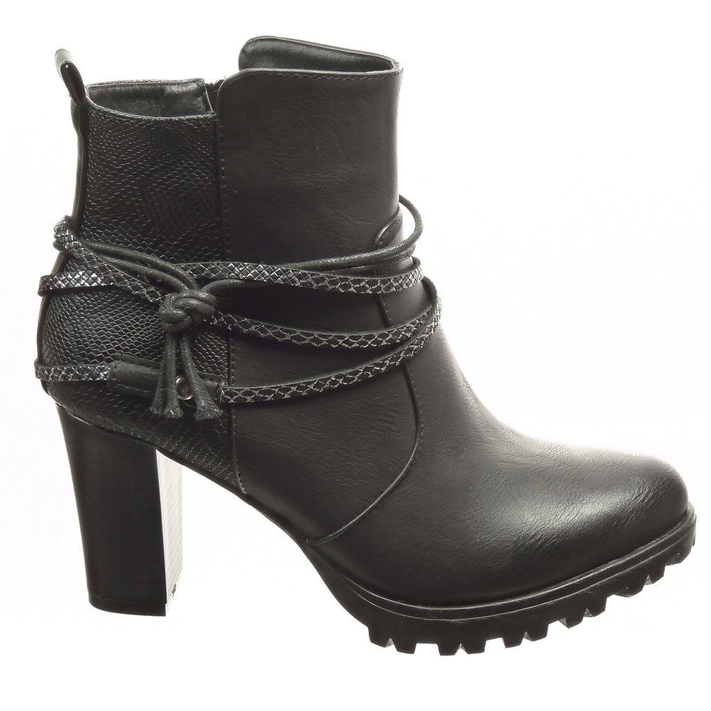 Angkorly - Zapatillas Moda Botines Low Boots Plataforma Mujer Piel de Serpiente Tanga Talón Tacón Ancho Alto 8 CM - Plantilla Forrada de Piel - Negro F193-1 ...