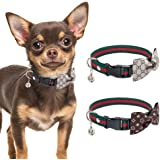 HOMIMP Bow Tie Puppy Collar - 2 Pcs Cute Adjustable Small Dog Collars for Dogs Cats Pets