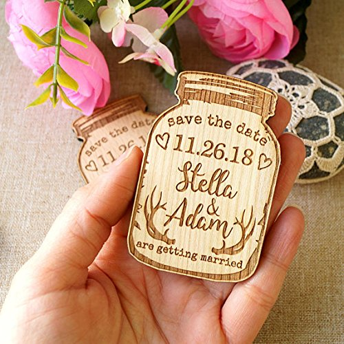 (Save the date, wedding announcement magnets, save the dates, wedding save the date, wooden save the date magnets, mason jar magnets, 25 pc)