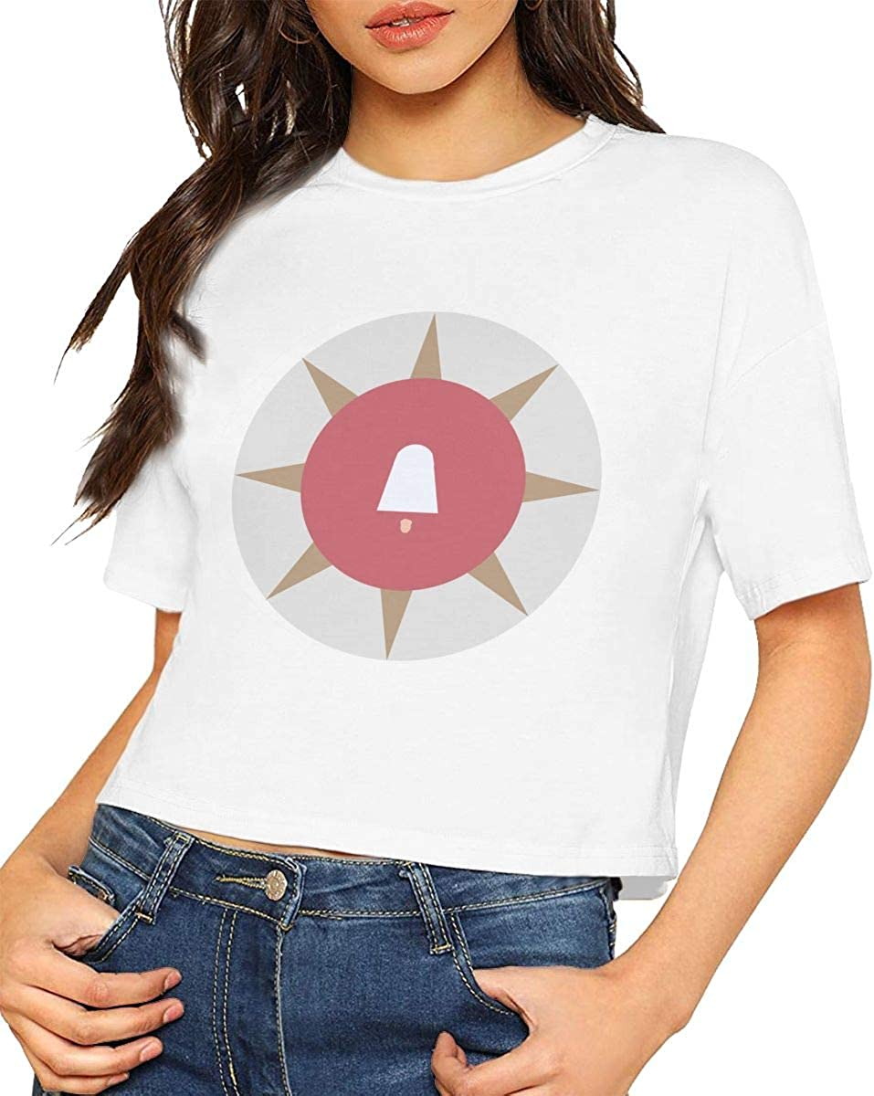 Qmad Adult Womens The Tale About Handmaid Crop Top T-Shirts Active Short Style Design Daily Working Out Short-Sleeve Wearable Tee White