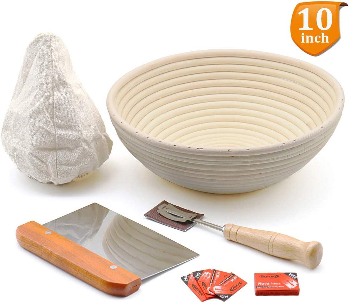 "10"" Round Bread Banneton Proofing Basket for Sourdough, Includes Linen Liner, Metal Dough Scraper, Scoring Lame & Case, Extra Blades, Rising Dough Baking Bowl Gifts for Artisan Bread Making Starter"