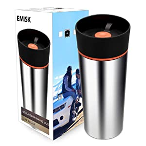 Thermal Travel Coffee Mug with 360° Drinking Lid, EMISK Leak-Proof Vacuum Insulated Tumbler, Double Walls Stainless Steel Travel Cup for Hot and Cold Beverages