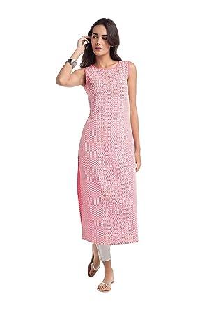 fd12d4020a6 NAARI Women Straight Embroidered Sleeveless Viscose Rayon Kurti Pink ...