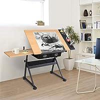 Adjustable Drawing Table Art Work Station 2 Drawer Tiltable Tabletop