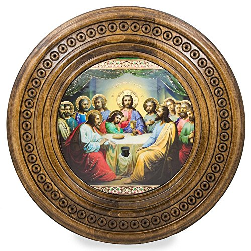 BestPysanky The Last Supper Icon on Wooden Hand Carved Plaque 10 Inches