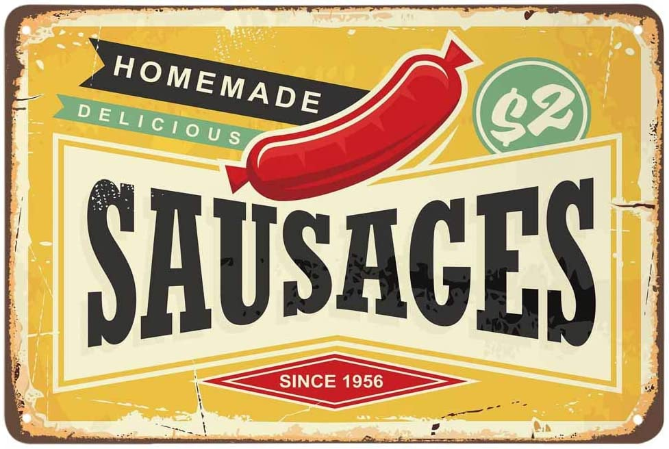 AOYEGO Sausage Tin Sign,Homemade Delicious Meat Hot Dog Food Vintage Metal Tin Signs for Cafes Bars Pubs Shop Wall Decorative Funny Retro Signs for Men Women 8x12 Inch
