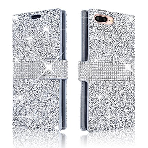iPhone 7Plus/iPhone 8Plus Wallet Case Shiny Glitter Sparkle Bling Stars Flip Wallet Luxury Case Cover For iPhone 7 Plus/iPhone 8 Plus 5.5 Inch (Silver) (Phone Cover Silver Stars)
