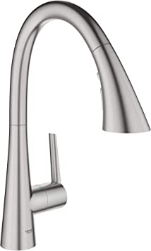 Grohe 32298dc2 Ladylux L2 Single Handle Pull Down Triple Spray Kitchen Faucet In Supersteel Amazon Com