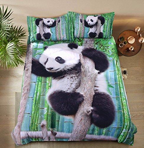 Alicemall 3D Panda Bedding Cute Panda Climbing the Tree Green Bamboo Prints Duvet Cover Set, 4 Pieces Soft Bedroom Sheets Set, Twin Size Kids' Bedding (Twin, Panda on a Branch)