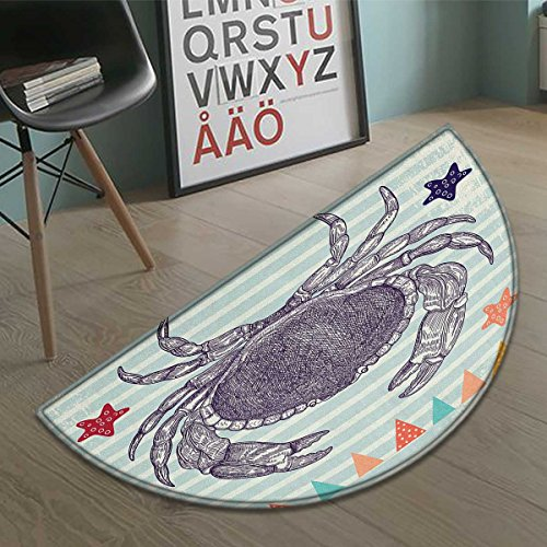 Nautical Crab half moon door mats for home Striped Stars And
