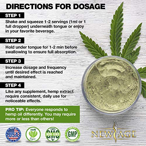 (2-Pack) Hemp Oil Extract for Pain, Anxiety & Stress Relief - 1000mg of Organic Hemp Extract - Grown & Made in USA - 100% Natural Hemp Drops - Helps with Sleep, Skin & Hair. by New Age (Image #5)