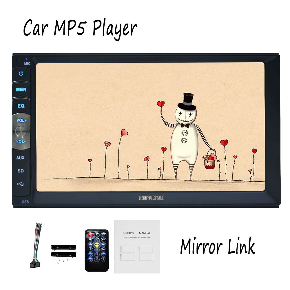EinCar Universal Car Mp5 Player with screen Mirror for Android phoones 7 inch Car Stereo Navgation Radio Bluetooth USB TF AUX Multimedia Audio Video Player(No DVD Player) by EinCar