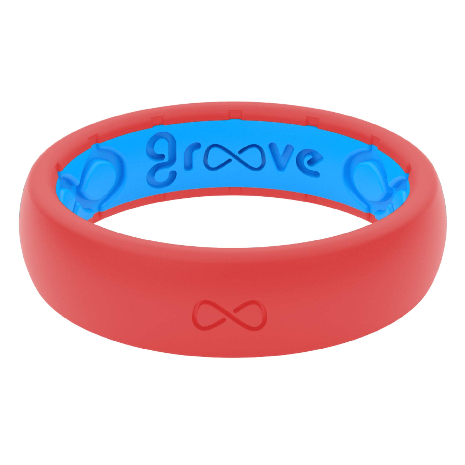 Groove Life - Silicone Ring for Men and for Women Wedding or Engagement Rubber Band with, Breathable Grooves, Comfort Fit, and Durability - Thin Solid Raspberry Red Size 4