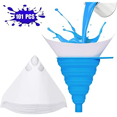 101 Piece Paint Strainer Paint Filter Paint Strainer, Painting Accessories for car Water Transfer Printing Workshop Equipment, conical Paper with Nylon Strainer & Foldable Silicone Funnel (101 Pieces)