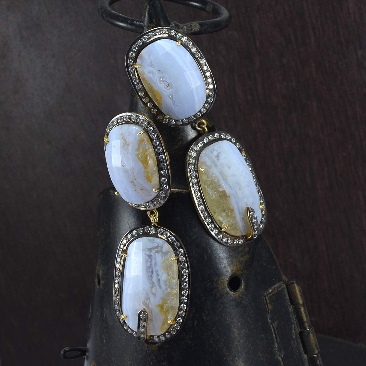 Vermeil 925 Sterling Silver Handmade Jewelry Manufacturer Indian Handcrafted Earring Blue Lace agate /& CZ Large Dangle Earring Jaipur Rajasthan India