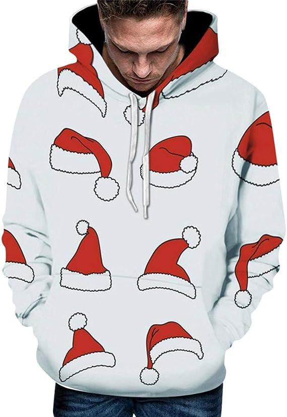 KUKICAT Noël Sweat Shirts Homme à Capuche Chic 3D Imprimé