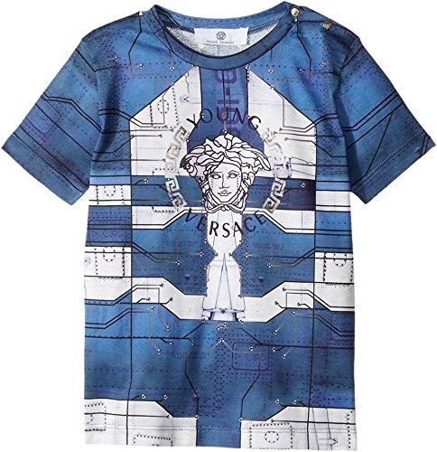 Versace Kids  Baby Boy's Short Sleeve Medusa Logo Graphic T-Shirt (Infant) Blue/Multi 24  - For Versace Kids