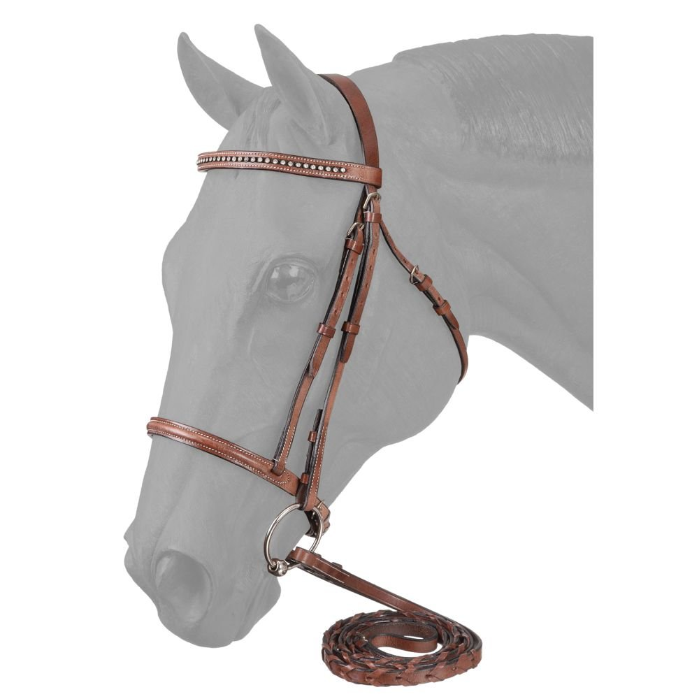 EquiRoyal Raised Snaffle English Bridle with Crystals JT International 22967870