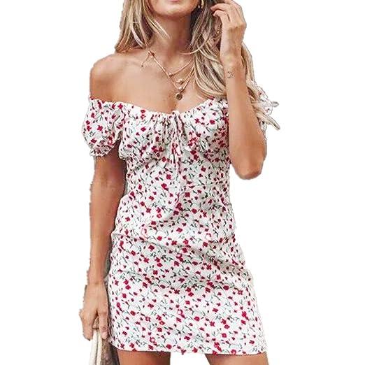 e09914d05ff5 Fashion Women Wrap Dress Slash Neck Off Shoulder Floral Printing Lace-Up Short  Sleeve Buttock Mini Dress at Amazon Women's Clothing store: