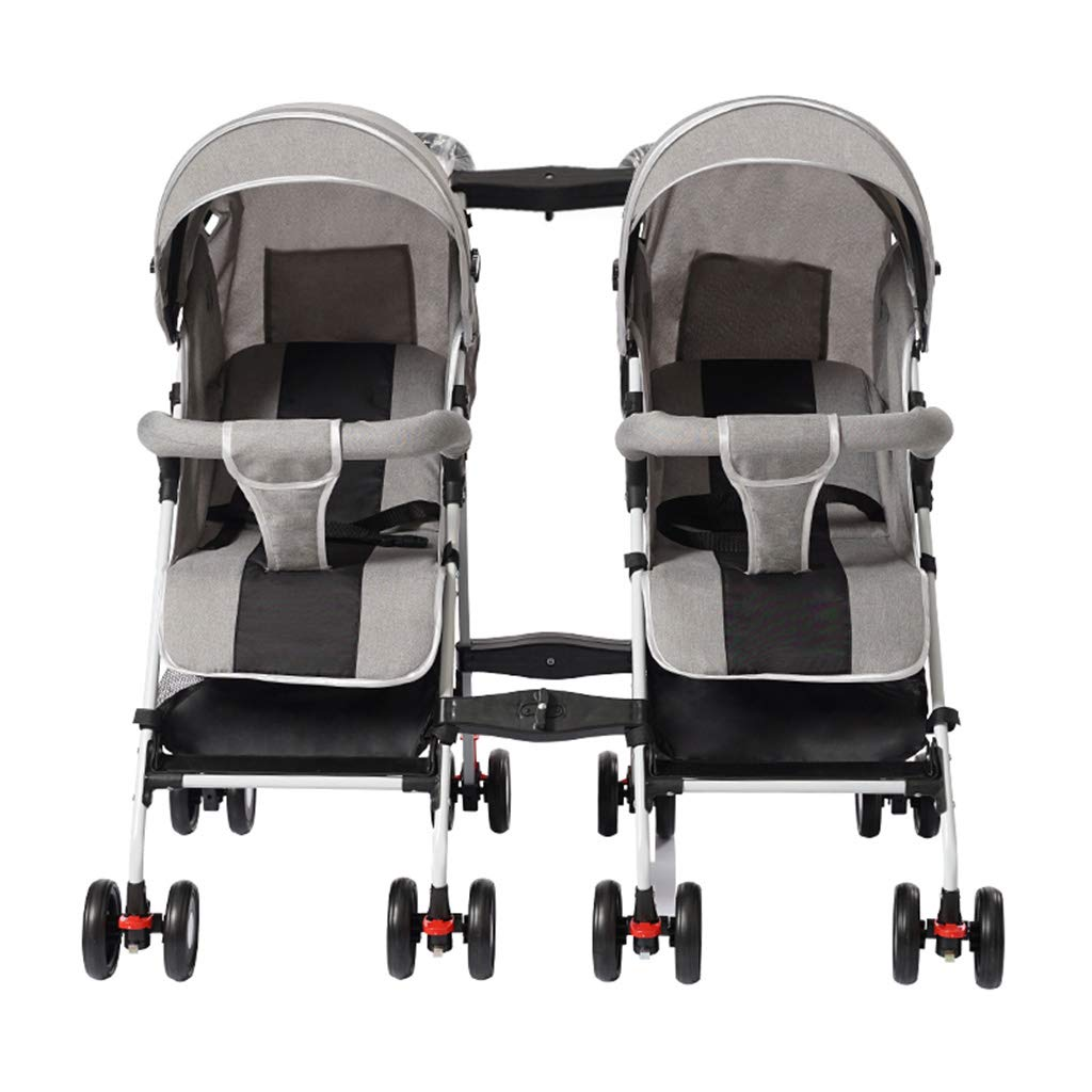 OCYE Stand-On Tandem Stroller/Standing/Sitting Double Stroller/Double Jogger, Lightweight Three-Speed Adjustable Awning Oversized Storage Basket Pedal, Gray