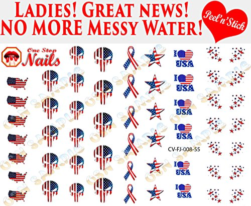 4th of July.Punisher, I love America V8. Set of 55 clear vinyl Peel and Stick nail art decals/stickers (NOT Waterslide) by One Stop Nails.