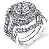 1.25 Carat 3 Piece Sterling Silver 925 Engagement Ring wedding Bridal Set Bands with Cubic Zirconia SZ 9