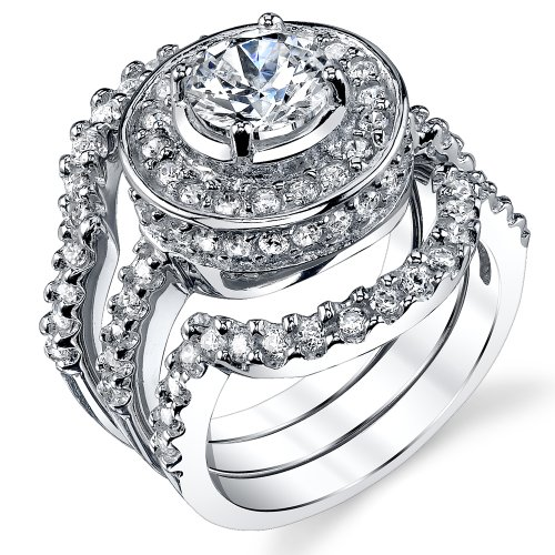 1.25 Carat 3 Piece Sterling Silver 925 Engagement Ring wedding Bridal Set Bands with Cubic Zirconia SZ 4 Bridal 4 Piece