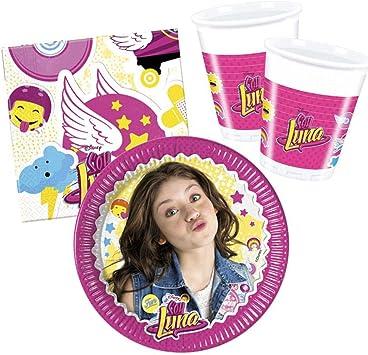 Soy Luna Establecer Vajilla Desechable Cumpleaños Platos Tazas Servilletas: Amazon.es: Juguetes y juegos