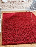 Unique Loom Solid Shag Collection Cherry Red 4 x 6 Area Rug (4' x 6')