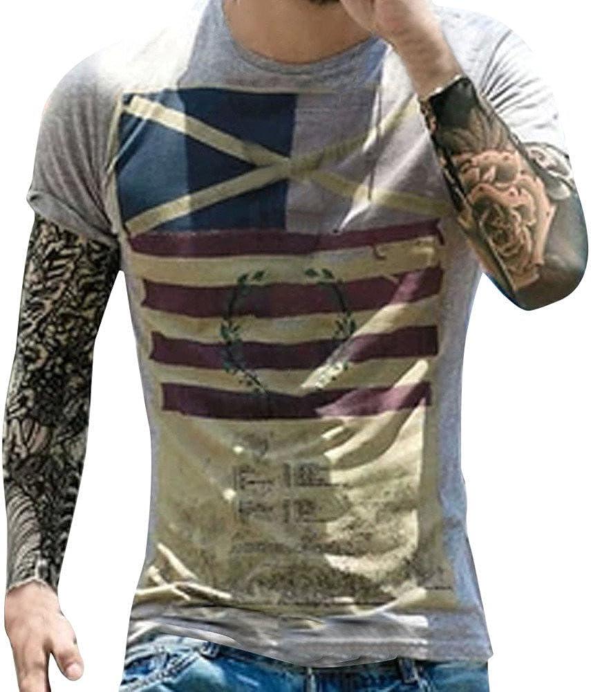 Camiseta para Hombre, Camiseta de Manga Corta con Estampado de Bandera Creativa Element Impresión Manga Corta con Cuello Redondo Camisa Blusa Blusa ...